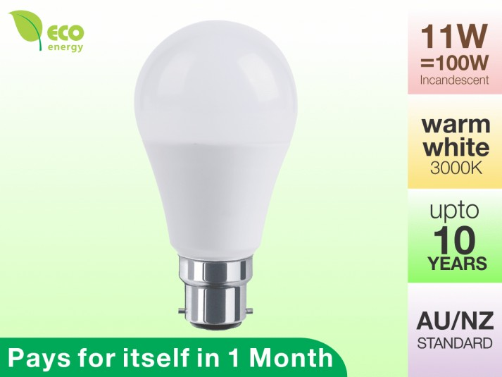 LED Light Bulb B22 11W Warm White 3000K 1020lm
