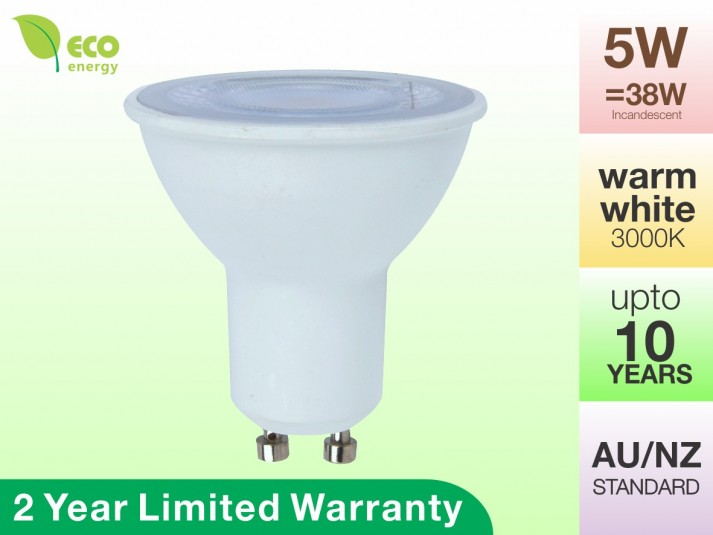 LED Light Bulb GU10 5W Warm White 3000K 380lm 2 Year Warranty