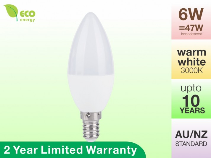 LED Candle Bulb E14 6W Warm White 3000K 470lm 2 Year Warranty