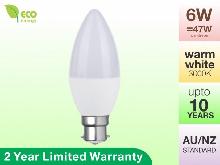 LED Candle Bulb B22 6W Warm White 3000K 470lm 2 Year Warranty