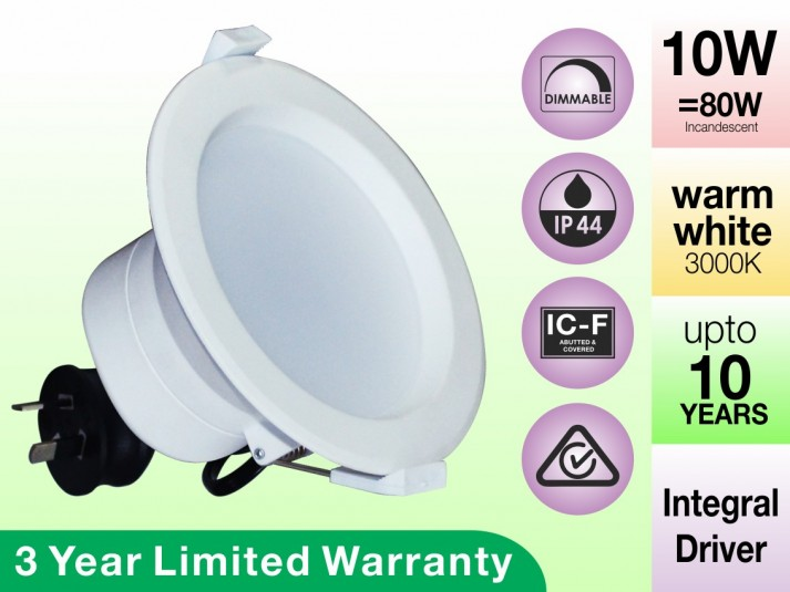 10W Dimmable Recessed LED Downlights IP44 & ICF Rated Warm White