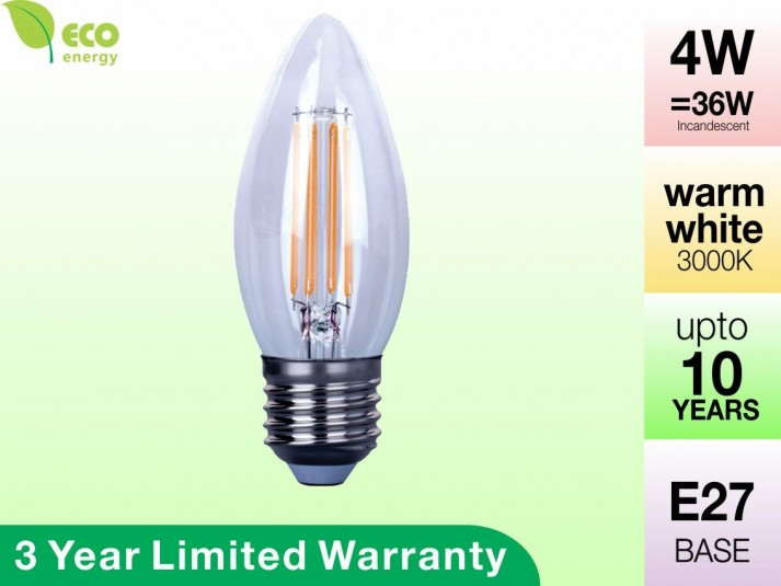 4W Glass Filament LED Candle E27 Warm White 360LM (3 Year Warranty)
