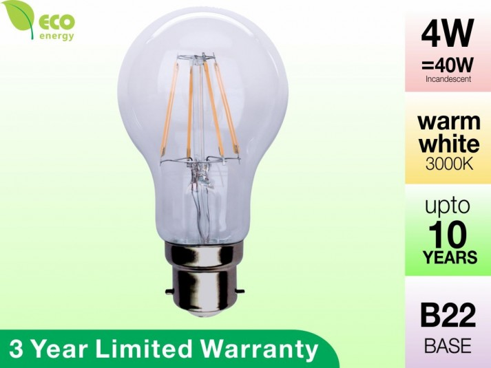 4W Glass LED Filament Bulb B22 Warm White 400LM (3 Year Warranty)