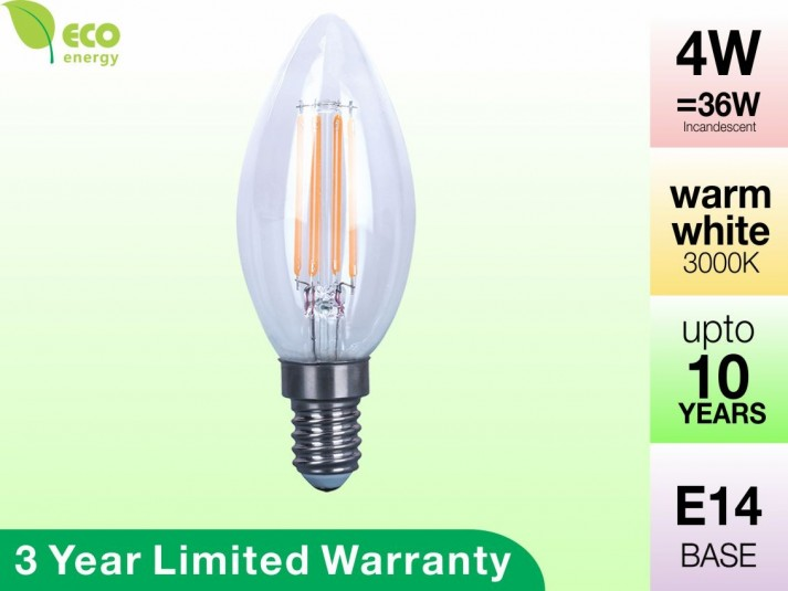 4W Glass Filament LED Candle E14 Warm White 360LM