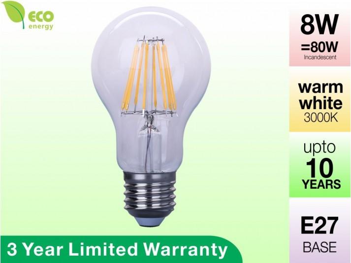 8W Glass Filament LED Bulb E27 Warm White 800LM (3 Year Warranty)