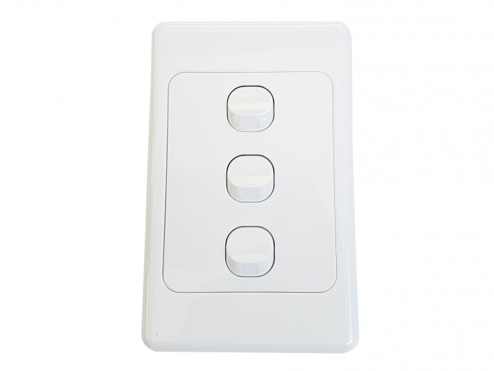Triple Wall Switch White Vertical